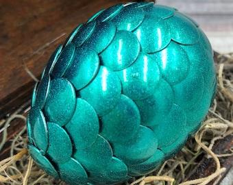 Dragon Egg with Box - Dragon Egg with Chest - Dragon Egg Decor - Dragon Egg - METALLIC GREEN- Regal Style Box