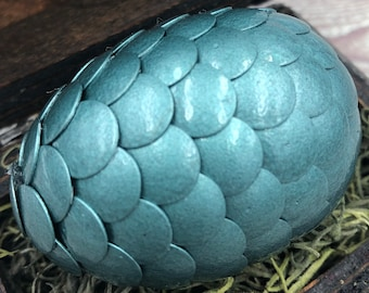 Dragon Egg with Box - Dragon Egg with Chest - Dragon Egg Decor - Dragon Egg - HAMMERED SAGE - Regal Style Box