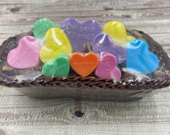 Heart Soaps / Conversation Heart Soap Set / Mini Guest Soap / Valentine Soap / Goat Milk Soap / Valentine Gift / Party Favor
