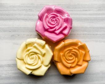 Rose Soap / Flower Soap / Bar Size Soap /  Wedding Favor/ 3.75 oz Soap / Shower Favor / Rose / Spring Soap