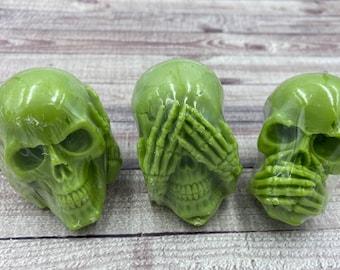 Three Wise Skulls Wax Tarts / Halloween / 3 Wise Skulls / Hear No Evil / See No Evil / Speak No Evil / Oddities Candle / Wax Tarts