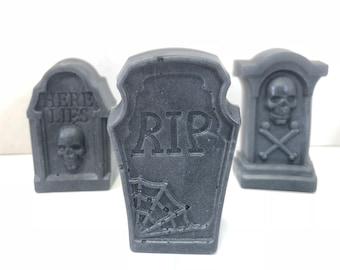 Gravestone Soap / Halloween Soap / ~5 oz total/ Tombstone Soap / Glycerin Soap / Creepy Soap / Horror Soap / Headstone Soap / Cemetery Soap