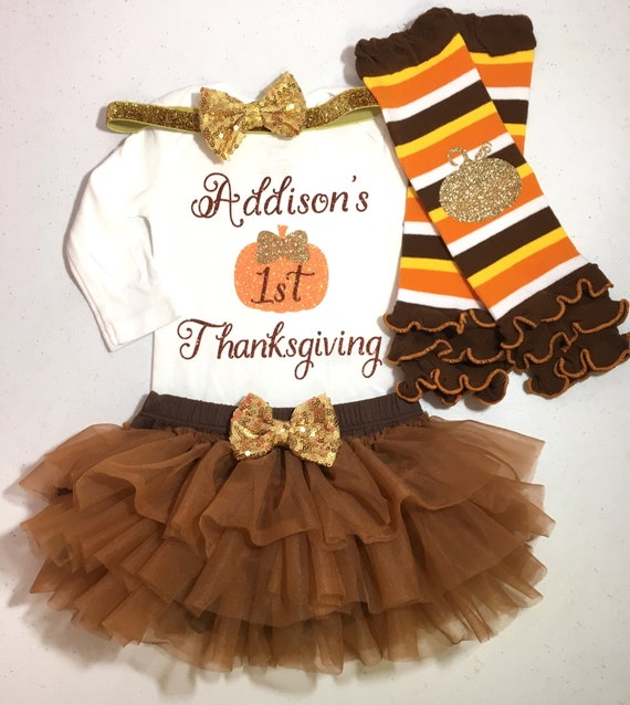 a1f7fd6b3 Baby Girl Thanksgiving Outfit Girl First Thanksgiving Outfit | Etsy
