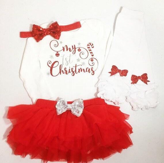 Tenue Noel Fille Tenue fille Noël fille de bébé 1ère tenue de Noël première | Etsy