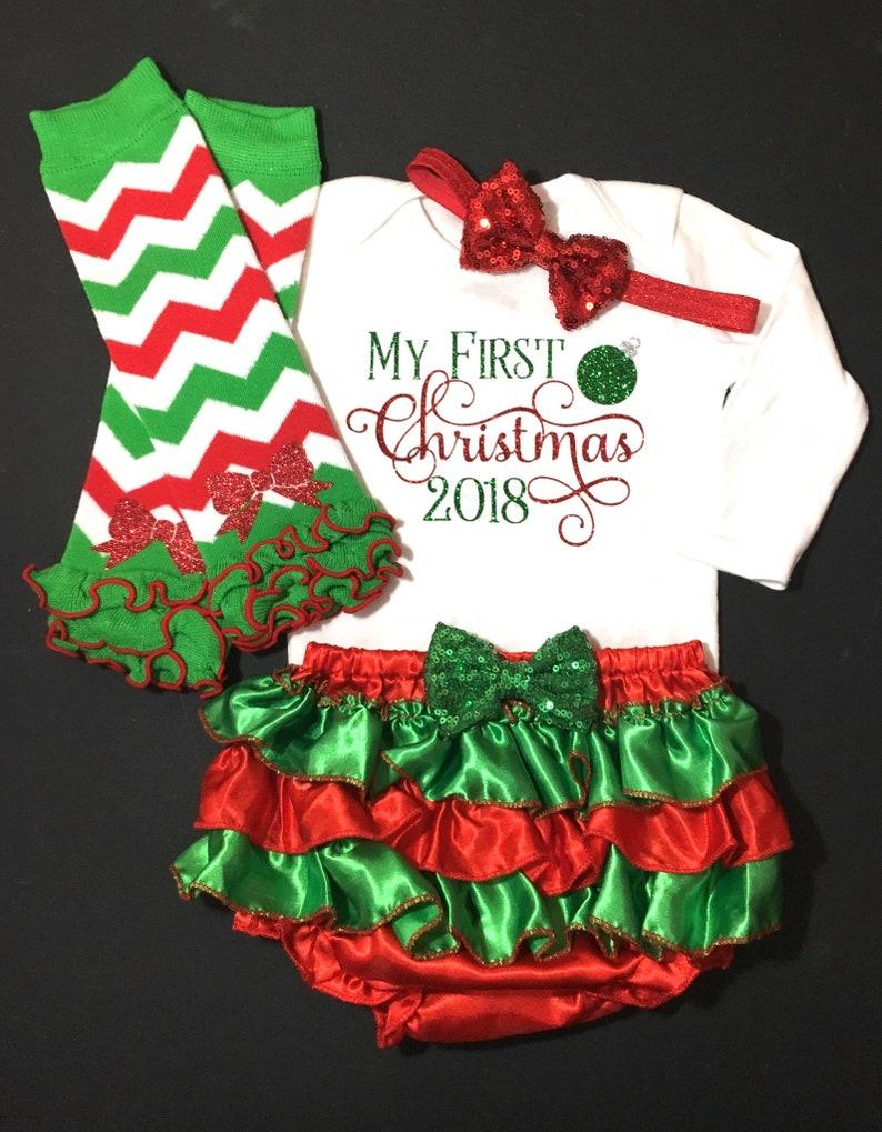 095b54db0 Baby Girl Christmas Outfit 1st Christmas girl Girl First | Etsy