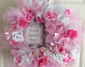 Home Sweet Home pink white roses shabby chic cottage Door Wreath