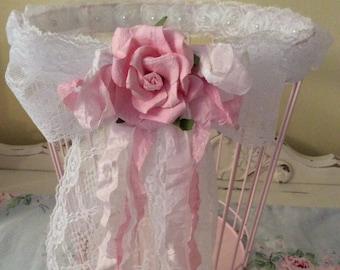Romantically Shabby Pink Storage Basket