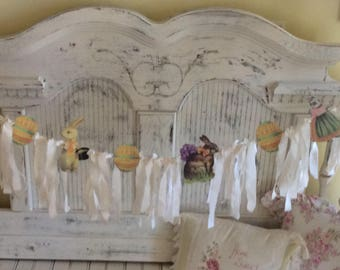 Vintage Inspired Easter Banner w/ ivory tattered fabric and crochet  lace