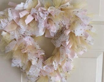 Pink /Gold Arrow  Fabric Heart Wreath