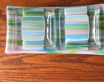 Fused glass sushi set green blue earth tones hand made 5 pieces.