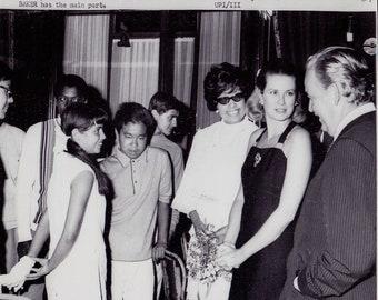 1969 Vintage Original Photograph Princes Grace (Grace Kelly) & Josephine Baker- Monaco - Red Cross Gala