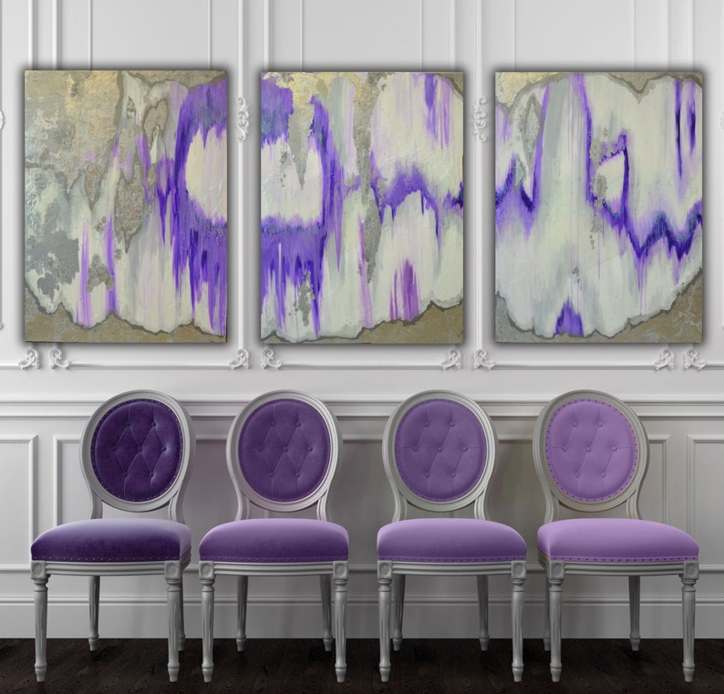 Set of 3 Large Canvas Painting Gray Silver Purple Ikat Ombre image 0
