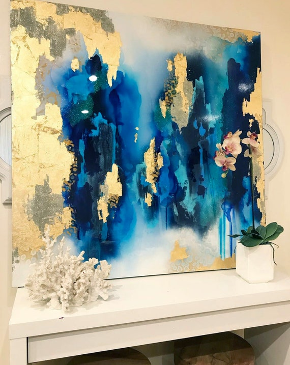 Sold Large Abstract Art Large Canvas Painting Royal Blue White Gold Leaf Glitter With Resin48 X 48 Real Gold Leaf Large Painting