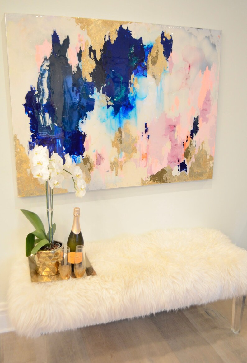 SOLD Blush Navy Large Art Large Canvas Painting Blue Pink image 0
