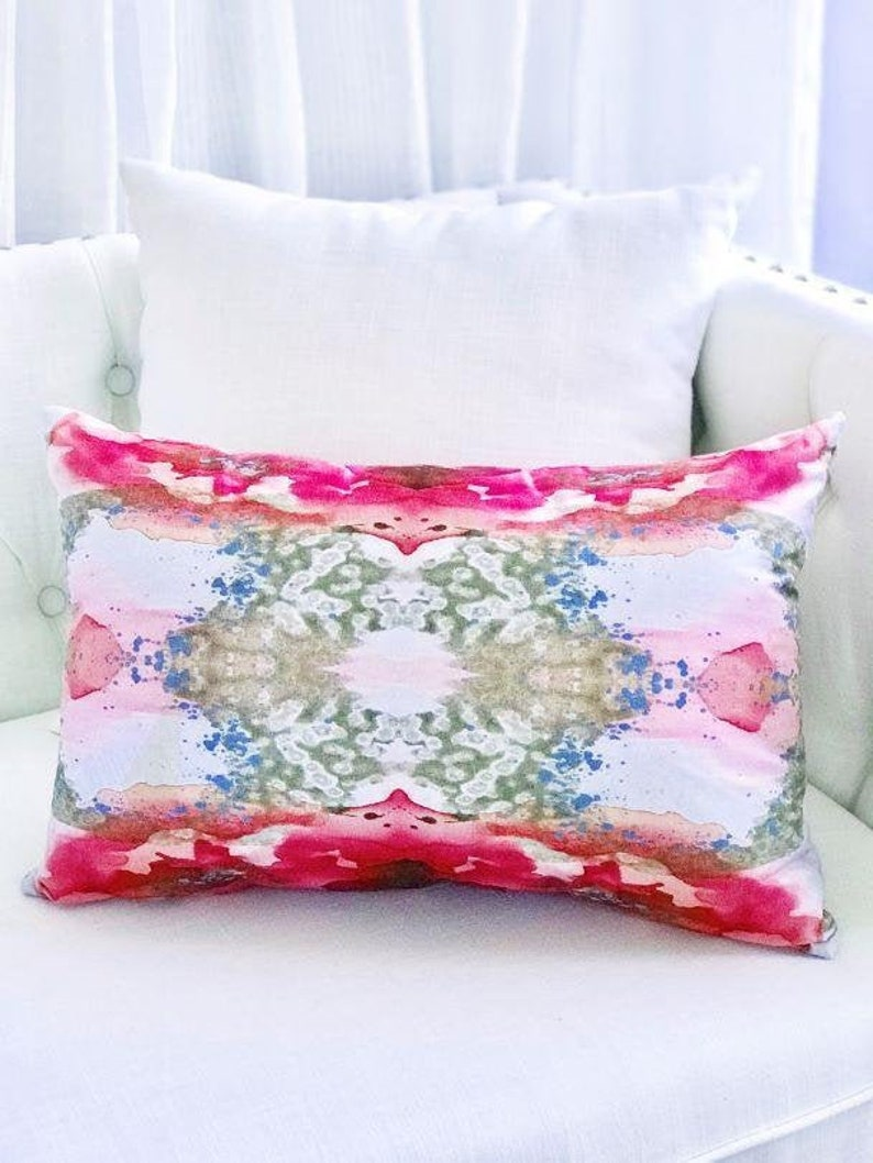 Abstract Art Throw Pillow inspired by  Painting in Rose Gold image 0