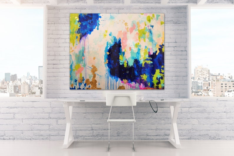 Sold Acrylic Abstract Art Large Canvas Painting Blue Peach image 0
