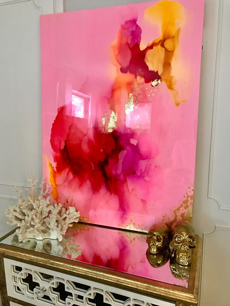 Sold Acrylic Abstract Art Large Canvas Painting Gold Pink image 0