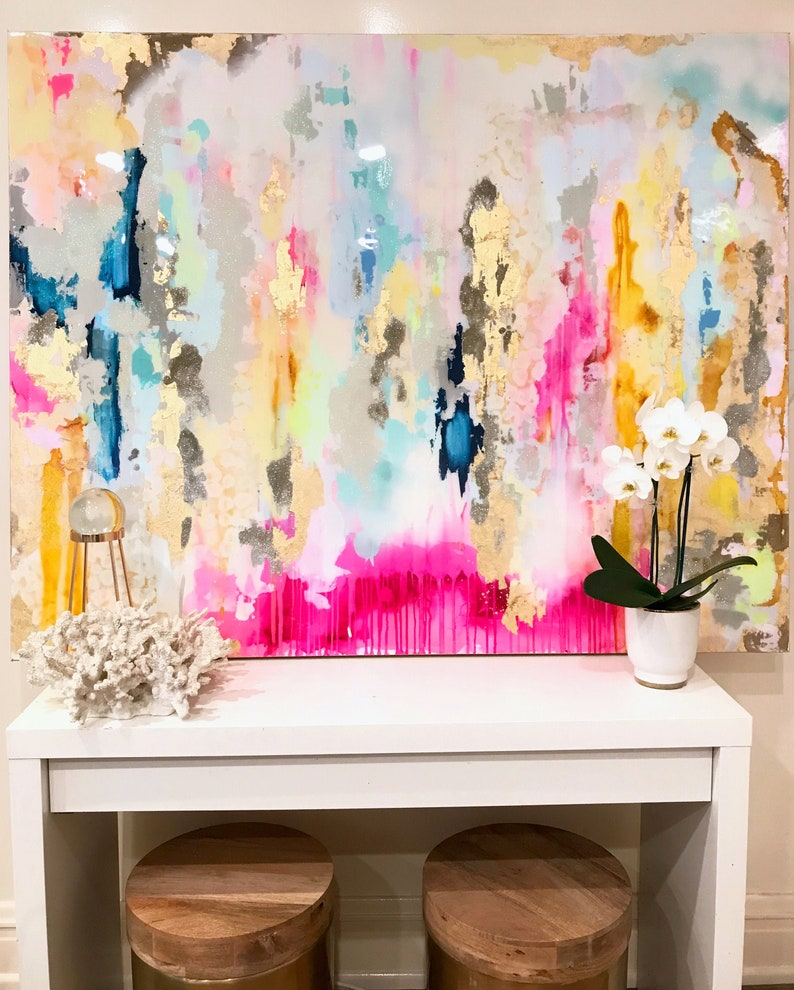 Sold Large Acrylic Abstract Art Large Canvas Painting Pink image 0