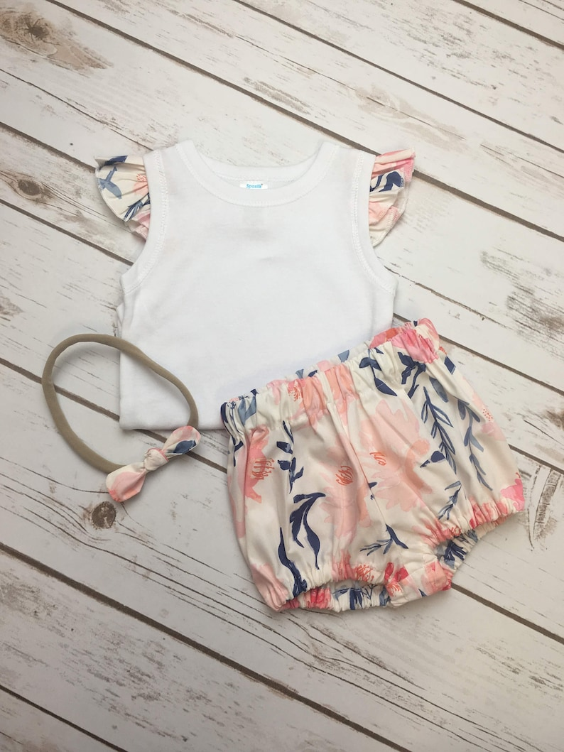 893391e8e Baby Bodysuit Set floral outfit ruffled bloomers set coral   Etsy