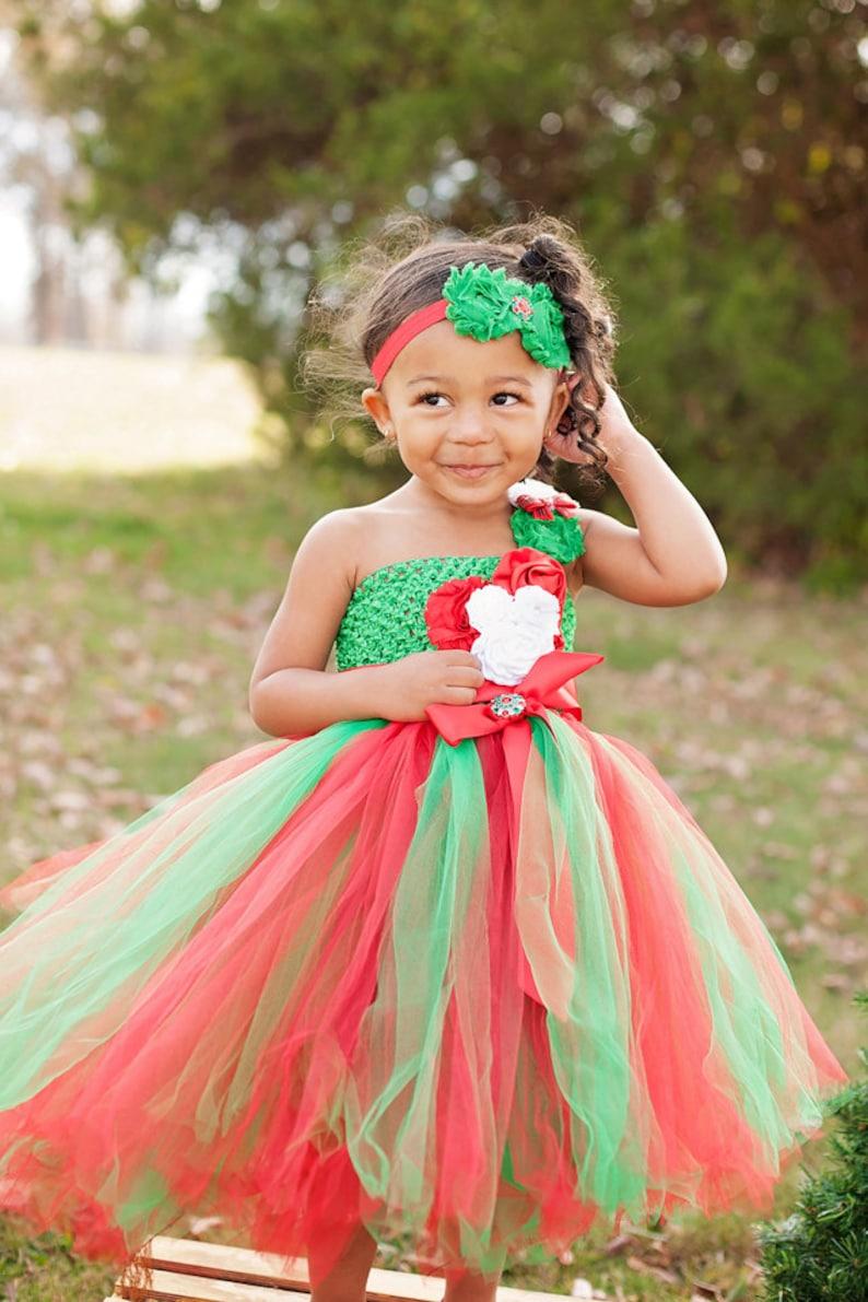 c517200438a6 Christmas Tutu Dress Red Green and White Christmas Tutu   Etsy