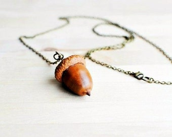 Handmade Natural Acorn Necklace