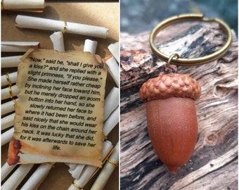 Peter Pan Acorn Keyrings, Disney Peter Pan Gift Jewellery, Acorn Thimble Kiss,  Disney Lover, Gift for Peter Pan Tinkerbell Lover in the UK