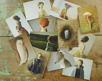Willowynn art postcard set of 12 / nature and art doll cards / notecards / postcards / greeting cards / art cards