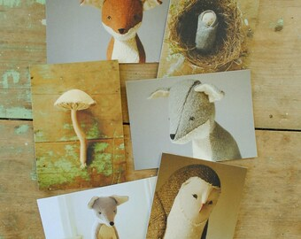 Willowynn nature postcard set of six or twelve / animals / textile art /notecards / postcards / greeting cards / art cards