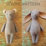 Bunny rabbit and bear stuffed animal doll sewing pattern / soft toy PDF tutorial