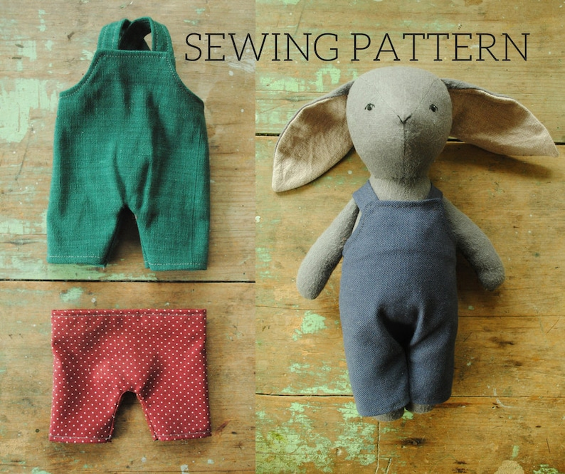 Miniature overalls and pants sewing pattern / toy doll clothing / dungarees  PDF tutorial