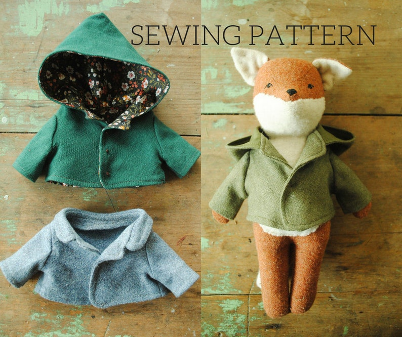 Miniature coat sewing pattern / doll jacket with hood or collar/ toy  clothing PDF tutorial / reversible
