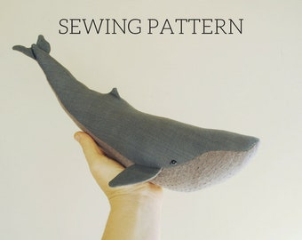 Blue whale soft toy digital sewing pattern / sea creature PDF downloadable tutorial