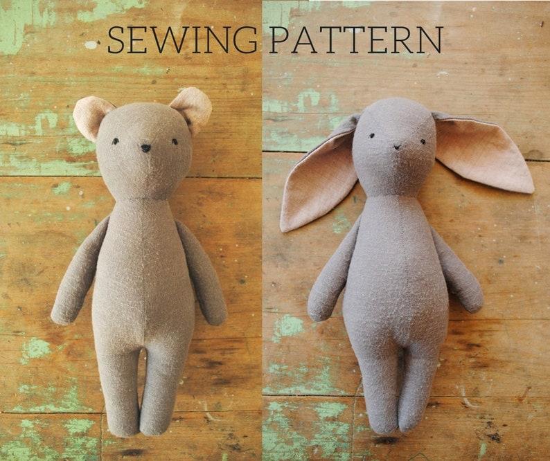 Bunny rabbit and bear stuffed animal doll sewing pattern / image 0