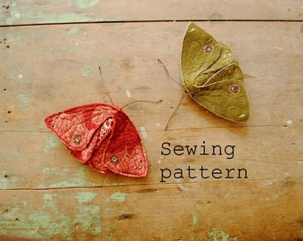 Simple fabric moth and butterfly PDF sewing pattern / digital download