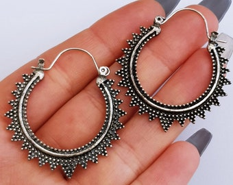 Simple Bead Dot Bali Bohemian Drop Hoop Earrings
