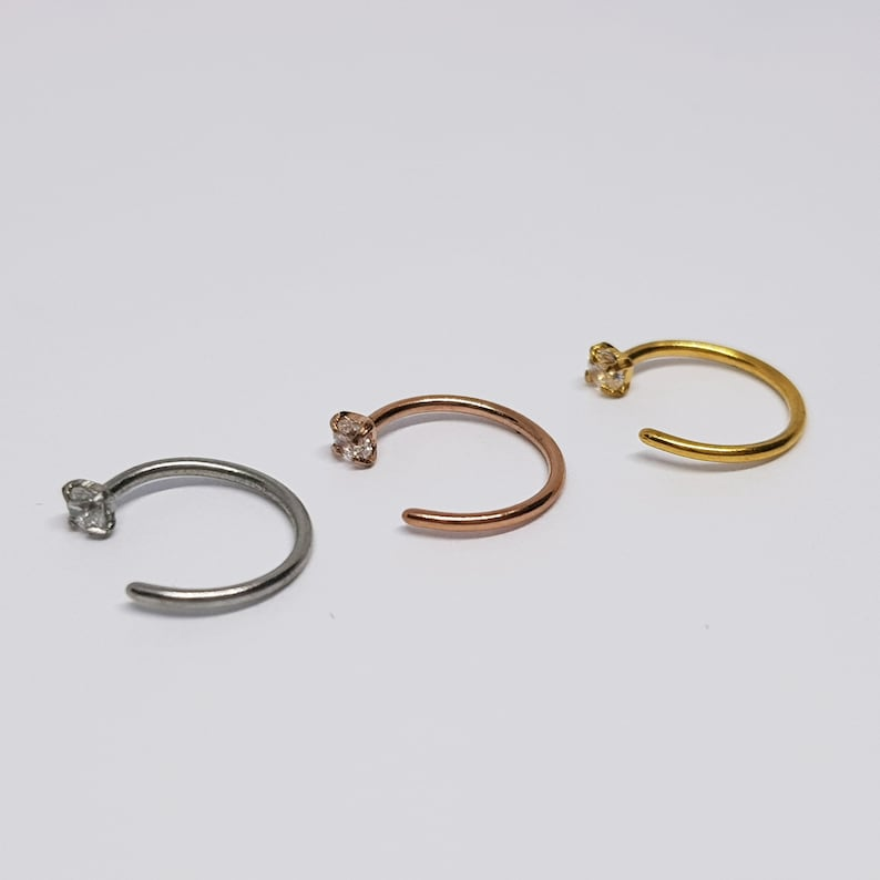 20g Plain Brass Nose Ring Small 8mm Ring Nose Stud Helix Ear Hoop