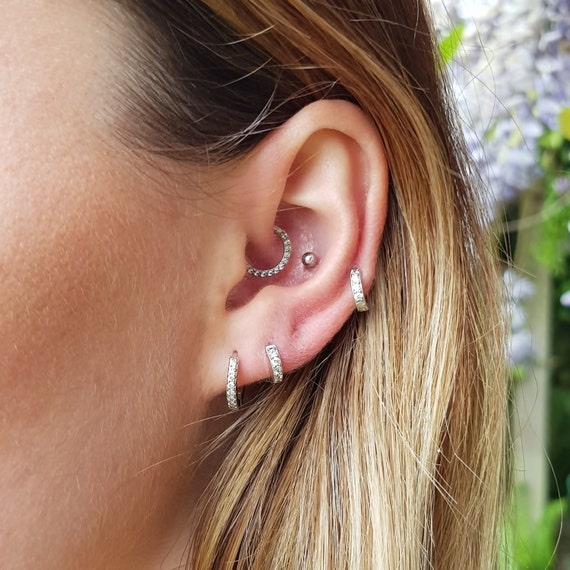 Mini Pavé Eternity Crystal Huggie Hoops | Minimal Cartilage Hoops | Tiny Helix Hoops | Sterling Silver   18 K Gold Plated   Rose Gold Plated by Etsy