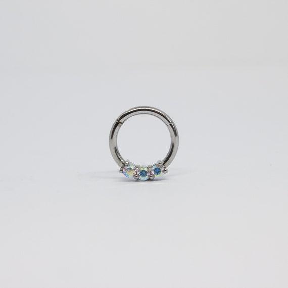 "Clear Gems Hinged Ring Easy Seamless Titanium 16G 5//16/"" 1PC"