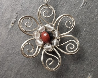 Sterling Silver Filigree Flower Necklace with a Center of Jasper Surrounded by Crystal Quartz