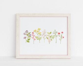 Watercolor Wildflowers. 8x10 Digital Printable.  Home Decor print.