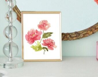 Watercolor peonies 8x10 digital printable.  Home decor print.