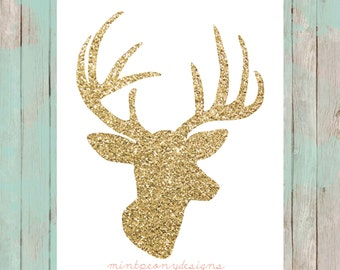 Glitter gold deer head.  8x10 digital printable.  Nursery/home decor digital print.