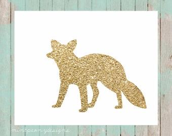 Gold glitter fox silhouette.  8x10 digital printable.  Nursery/home decor print.