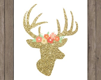 Gold glitter deer head with floral crown.  8x10 digital printable.  Nursery/home decor print.