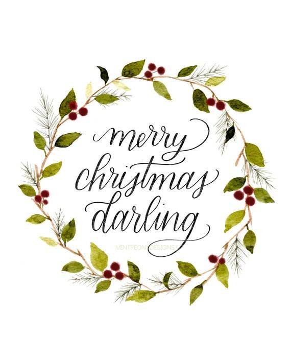 Merry Christmas Darling.Merry Christmas Darling 8x10 Digital Printable Holiday Home Decor Print