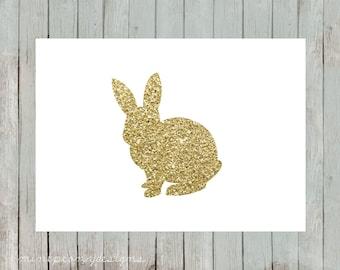 Gold glitter bunny silhouette.  5x7 digital printable.  Nursery decor print.