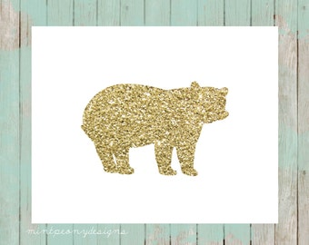 Gold glitter bear silhouette.  8x10 digital printable.  Nursery/home decor print.