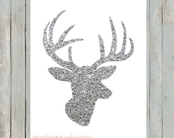 Silver Glitter Deer Head. 8x10 digital printable.  Nursery/home decor digital print.