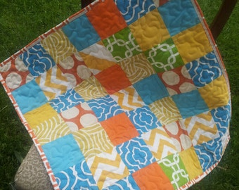 READY TO SHIP Modern baby quilt ,mat for baby ,car seat blanket ,modern quilt ,  30 x 30 inch