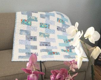 Baby quilt boy Baby boy bedding quilt Layered Blanket ,modern baby boy quilt ,mat for baby ,car seat blanket ,modern quilt ,39 x 35 inch